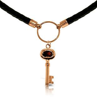 14K Rose Gold .50ct Garnet Key Leather Necklace
