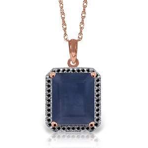 14K Rose Gold 6.40ct Sapphire & Black Diamond Necklace