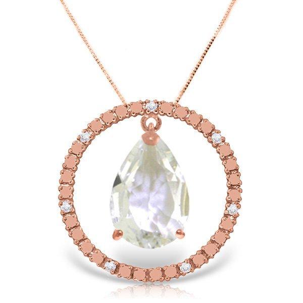 14K Rose Gold 6.5ct White Topaz & Diamond Necklace