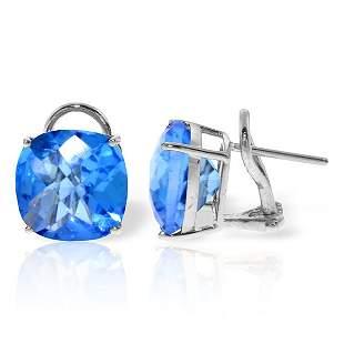 7.20ct Blue Topaz French Clip Earrings in 14k WHITE