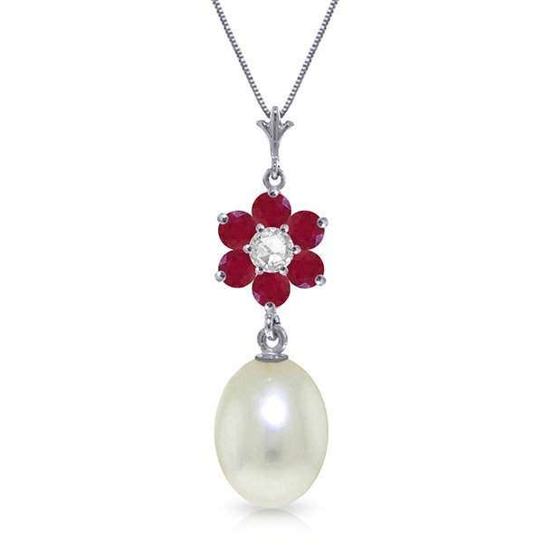14k exquisite Ruby, Pearl and Diamond Necklace