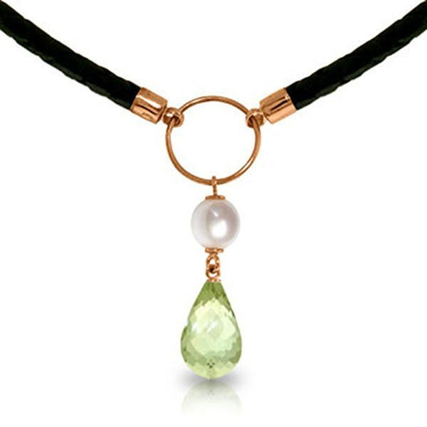 7.5ct 14k Rose Gold Necklace Pearl Green Amethyst