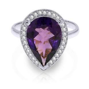 14K White Gold 3.25ct Amethyst & Diamond Ring