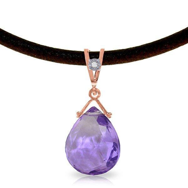 14K Rose Gold 6.50ct Amethyst & Diamond Necklace