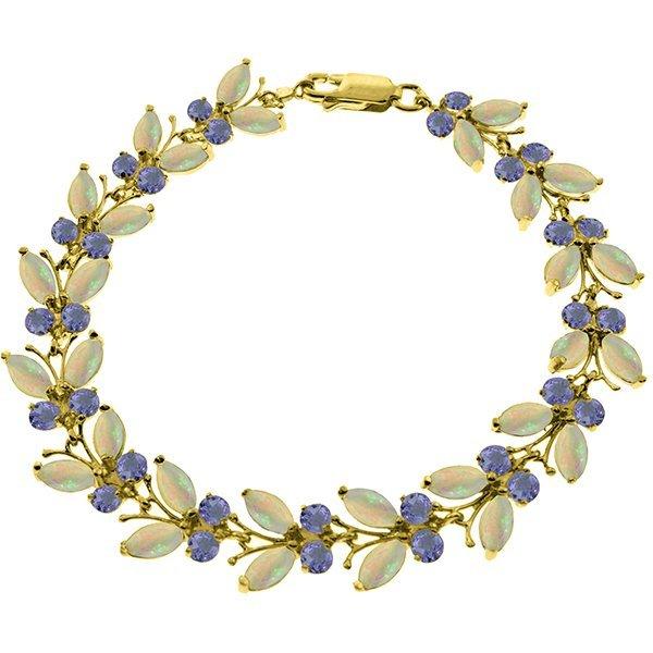 14k Solid Gold Opal & Tanzanite Butterfly Bracelet
