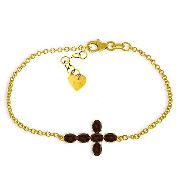 1.7ct 14k Solid  Gold Cross Bracelet Natural Garnet