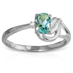 14k Solid Gold 0.45ct Blue Topaz & Diamond Ring