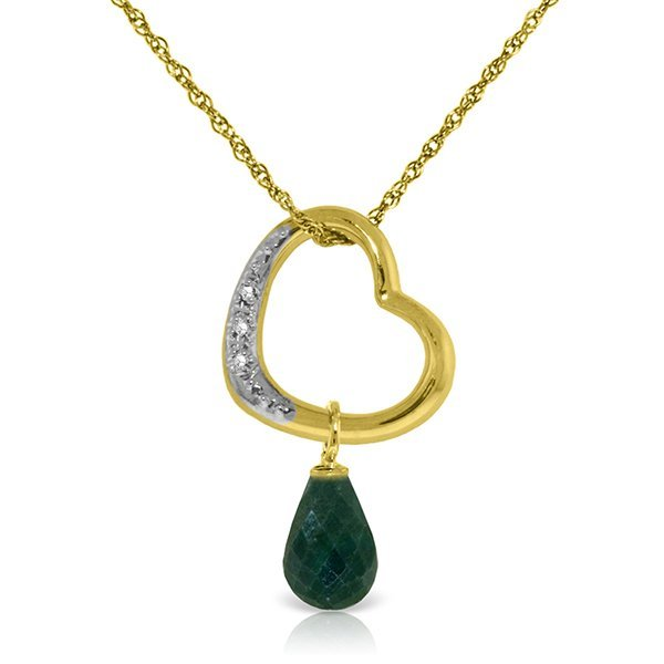 14K Solid Gold 3.3ct Emerald & Diamond Heart Necklace