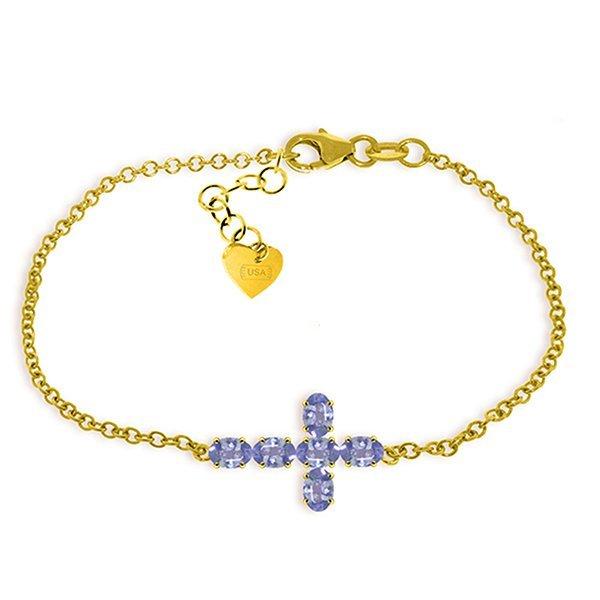 1.7ct 14k Solid  Gold Cross Bracelet Natural Tanzanite