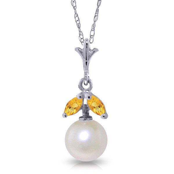 14k Solid Gold 0.20ct Citrine & Pearl Necklace