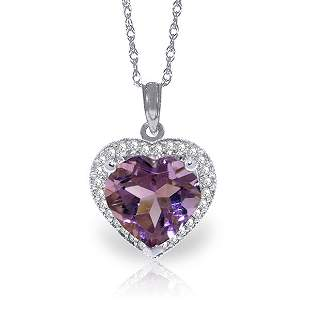 14k Solid Gold 3.10ct Amethyst & Diamond Necklace