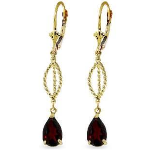 14K Solid Gold 3.0ct Pear Garnet Leverback Earring