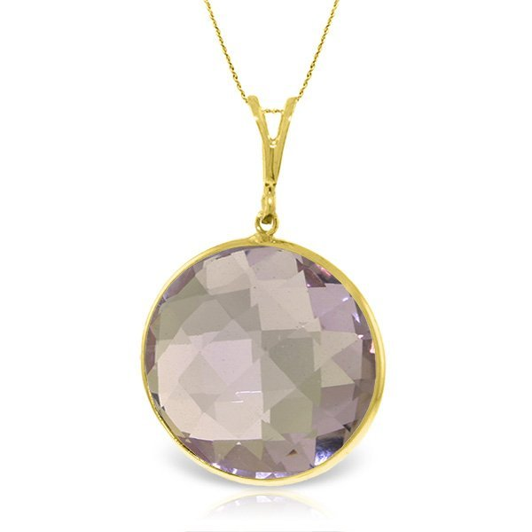 14K Solid  Gold Necklace with 18.00ct Round AMETHYST