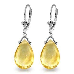 14k WG 10.20ct BRIOLETTE Citrine Drop Dangle Earrings