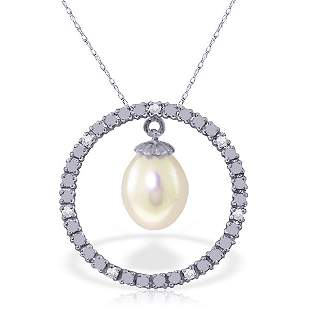 14k Solid Gold Freshwater Pearl & Diamond Necklace
