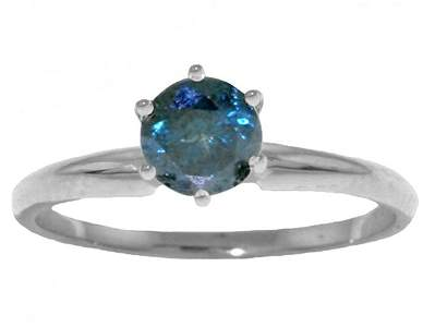 0.50ct Blue Diamond Classic Solitaire Ring in 14k WG
