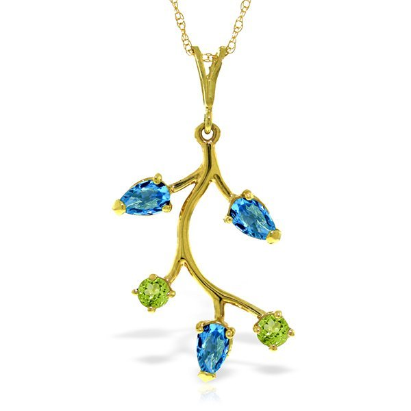 14k Solid Gold Blue Topaz & Peridot Necklace