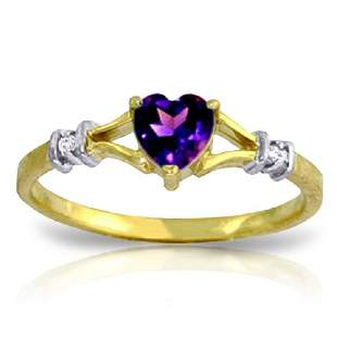 14K YG 0.02ct DIAMOND & 0.45ct HEART AMETHYST RING