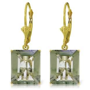 14k Solid Gold 13.0ct Green Amethyst Earrings
