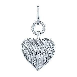 10KT White Gold 0.15CTW DIAMOND HEART PENDANT