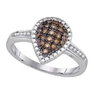 925 Sterling Silver White 0.20CTW DIAMOND FASHION RING