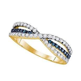 14KT Yellow Gold 0.49CTW BLUE DIAMOND FASHION BAND