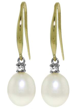 14K. GOLD FISH HOOK EARRINGS WITH DIAMONDS & PEARLS
