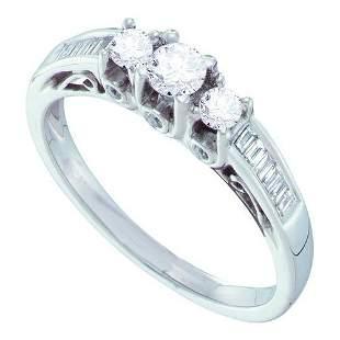 14KT White Gold 0.51CTW DIAMOND 3 STONE BRIDAL RING