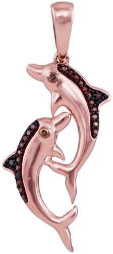 10KT Rose Gold 0.08CTW DIAMOND FISH PENDANT