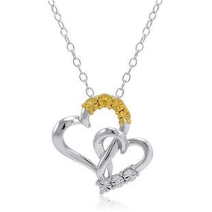 IGI Certified Sterling Silver/14K Gold Mother and Child