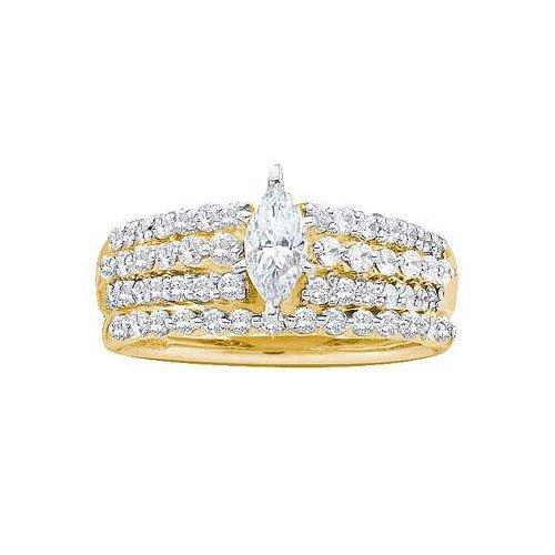 14KT Yellow Gold 1.00CTW DIAMOND LADIES BRIDAL SET WITH