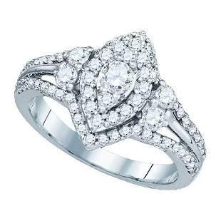 14KT White Gold 1.01CTW DIAMOND 0.21CTW CRD BRIDAL RING