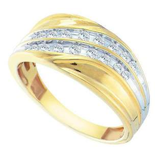 10KT Yellow Gold 0.33CTW DIAMOND CLUSTER MENS BAND