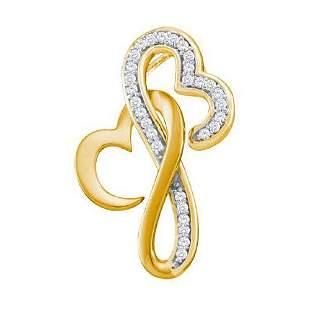 10KT Yellow Gold 0.10CTW DIAMOND LADIES HEART PENDANT
