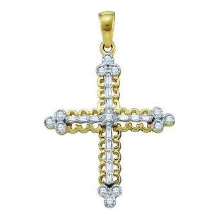 10KT Yellow Gold 0.07CTW-DIAMOND CROSS PENDANT