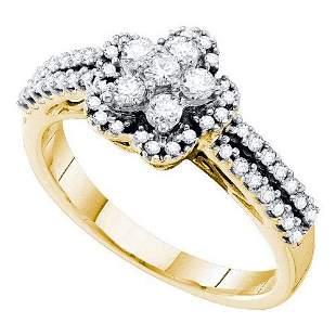 14KT Yellow Gold 0.50CTW DIAMOND FLOWER RING
