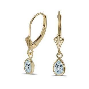 14K Yellow Gold .64 CTW Aquamarine Earrings