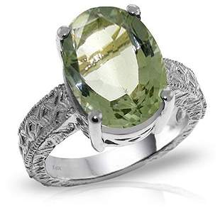 Platinum Plated Sterling Silver Ring with Natural Oval