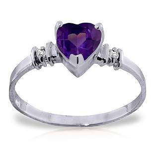 Platinum Plated Sterling Silver Ring withNatural Purple