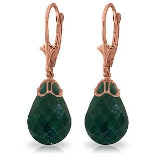 14K Rose Gold Lever Back Earrings with Briolette Green