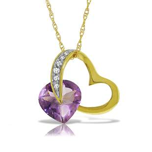 14K. Solid Gold HEART NECKLACE WITH NATURAL DIAMOND & A
