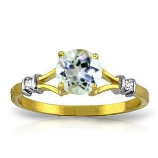 14K Solid Gold Visible Love Aquamarine Diamond Ring