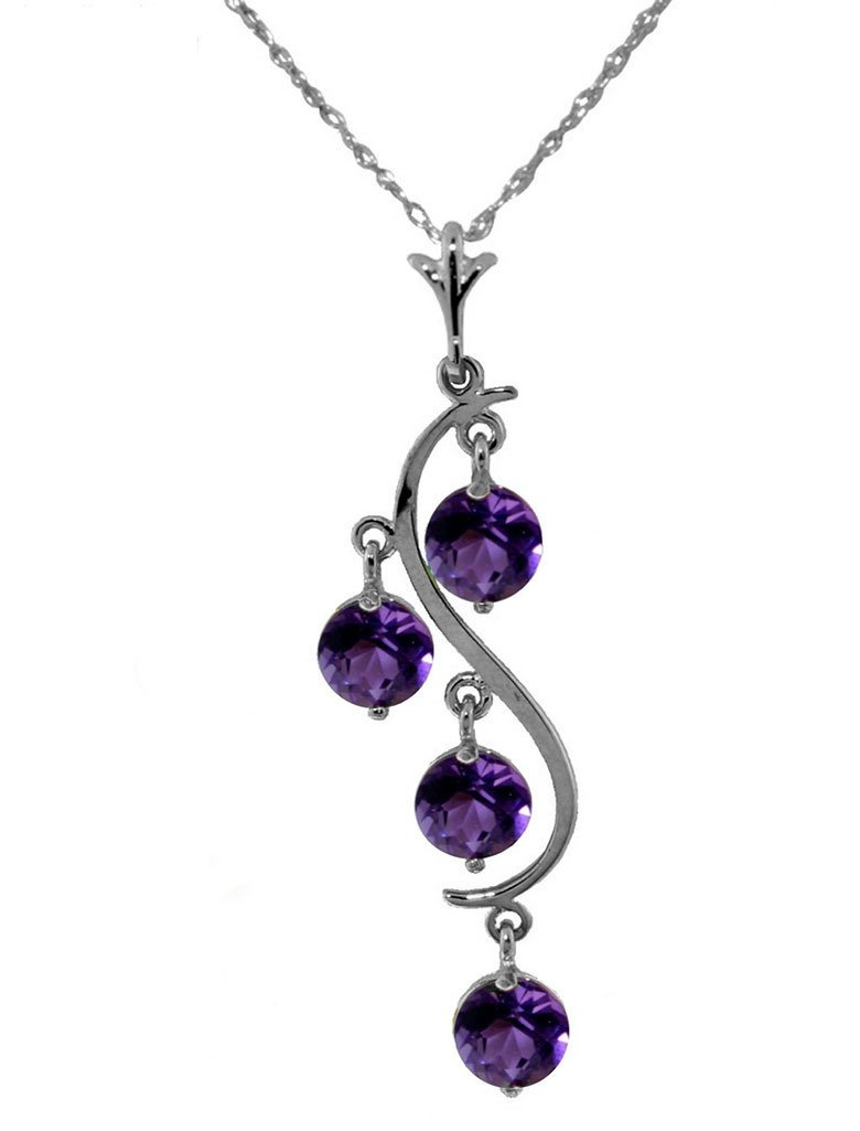 14K White Gold Rub Your Wings Amethyst Necklace
