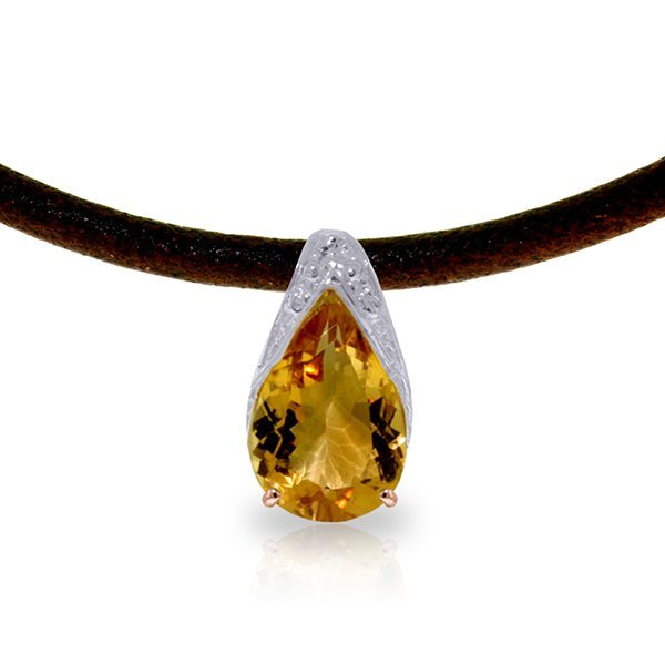 14K Rose Gold & Leather Necklace with Citrine