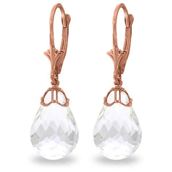 14K Rose Gold Earrings with Briolette White Topaz
