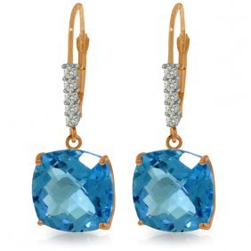 14k Rose Gold Perdita Blue Topaz Diamond Earrings