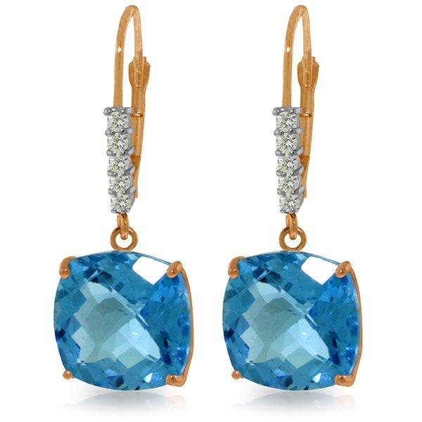 14K Rose Gold Perdita Blue Topaz Diamond Earrings