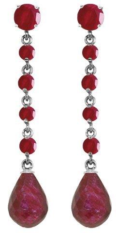 14K White Gold Red Daylight Ruby Earrings