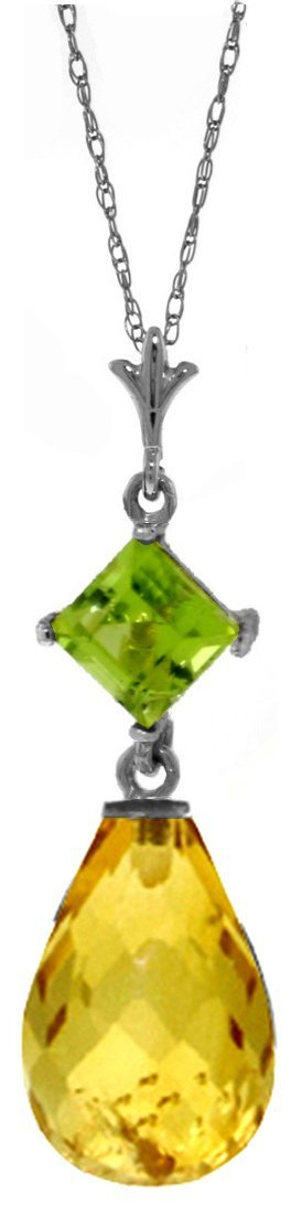 14K White Gold Further Reaches Peridot Citrine Necklace