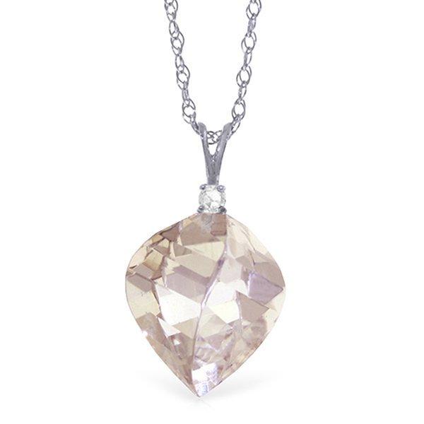 14K White Gold Noontide White Topaz Diamond Necklace